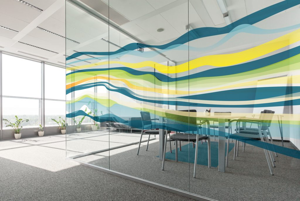 window film designs frosted you can specify one of our standard designs such as ribbon or astronomy from the new level collection seen here modified for window film window film solutions digital wallcoverings