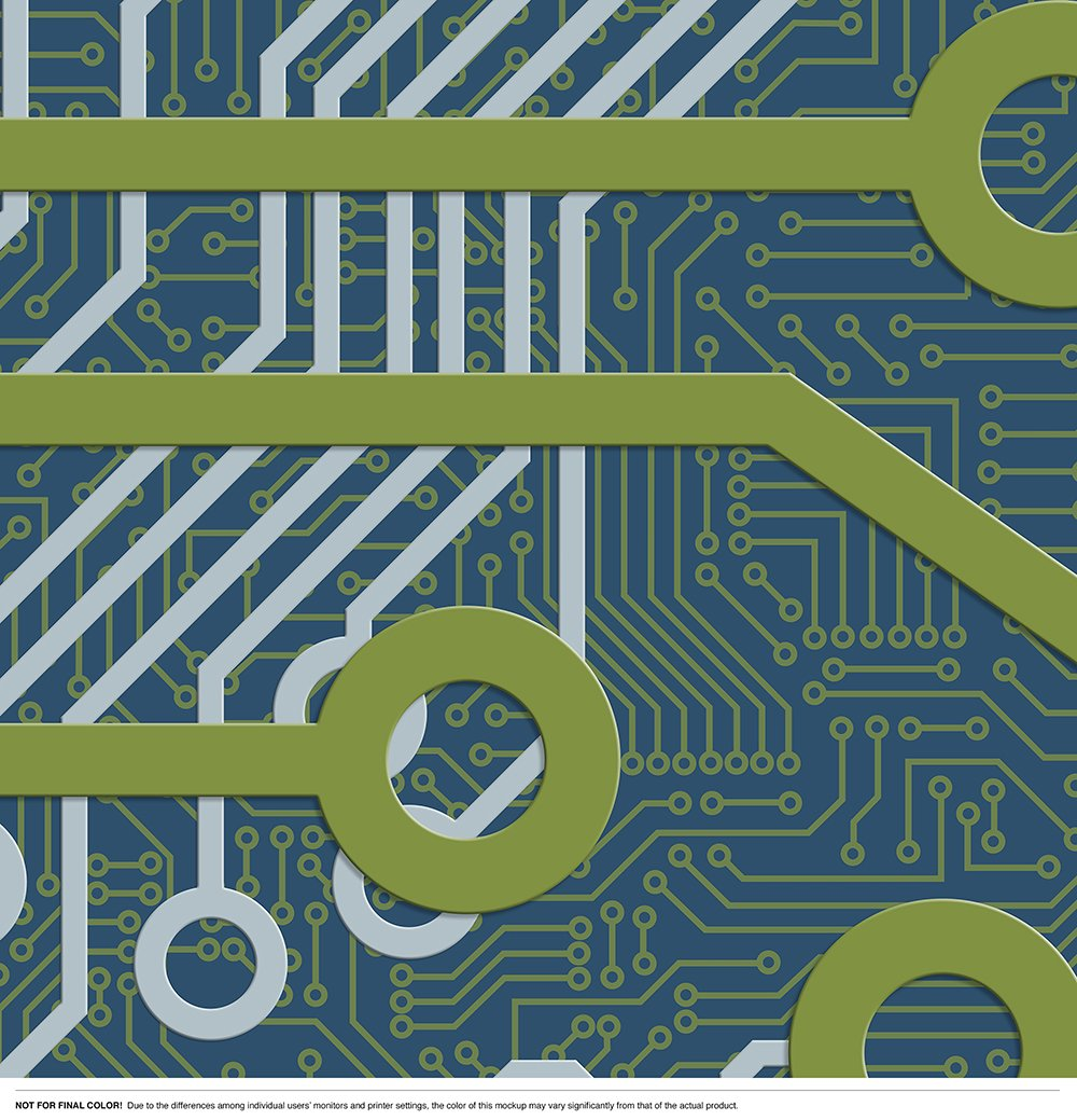 Circuit Board Upbeat Level Digital Wallcoverings Graphic Of Technological Theme And