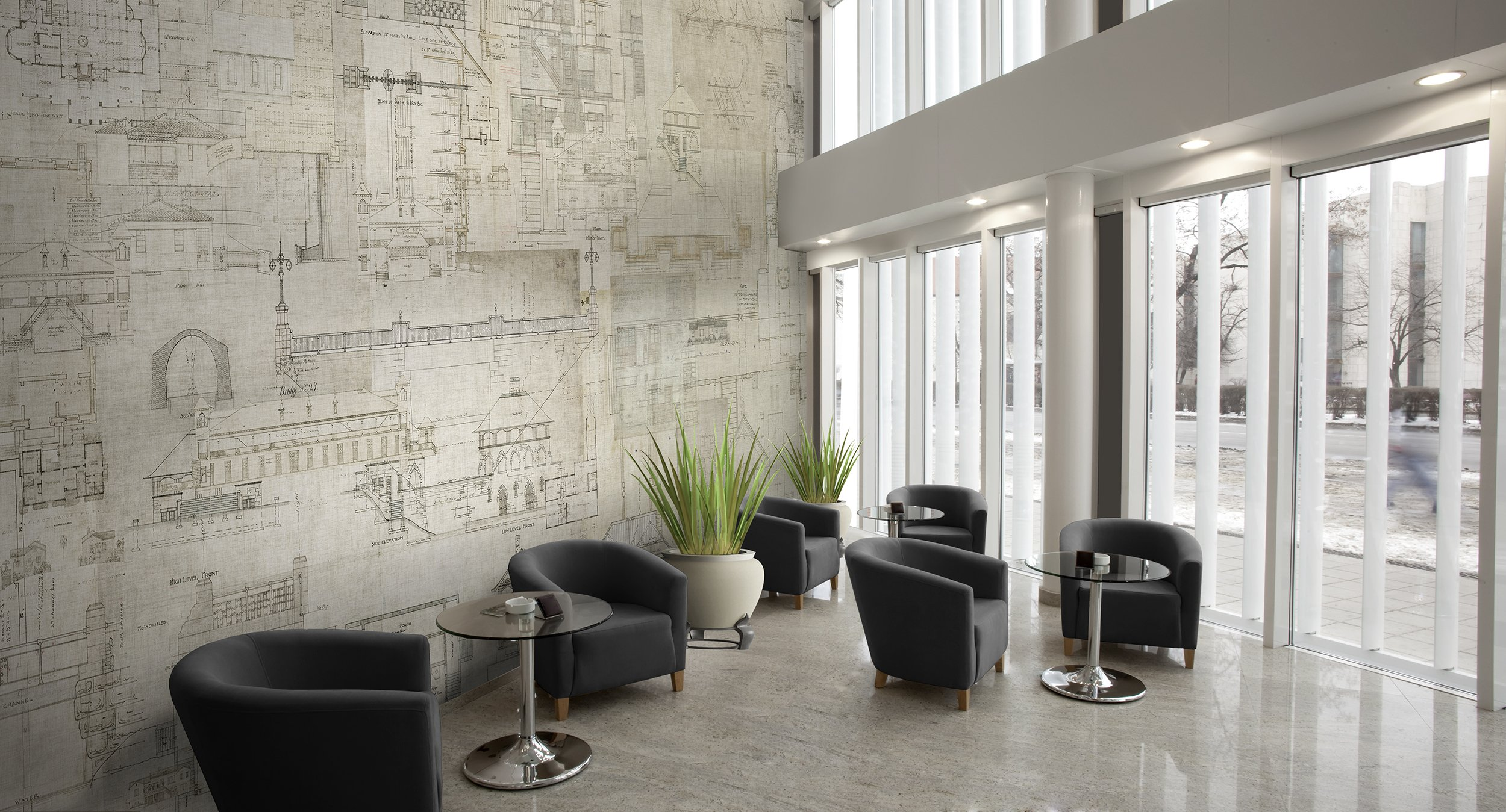 An architects dream check out our new digital wallcovering l60401 blueprint in black white malvernweather Gallery